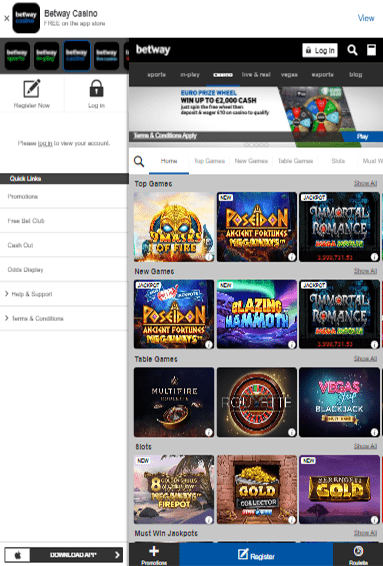 Betway Casino iOS & Android tablets