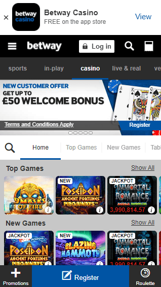 Betway Casino iOS & Android mobile devices