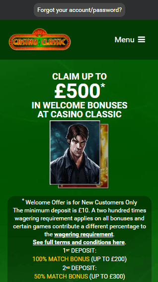 Casino Classic iOS & Android mobile devices