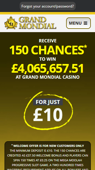 Grand Mondial Casino iOS & Android mobile devices