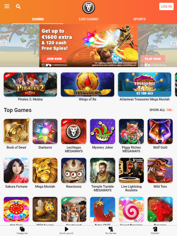 LeoVegas iOS & Android tablets