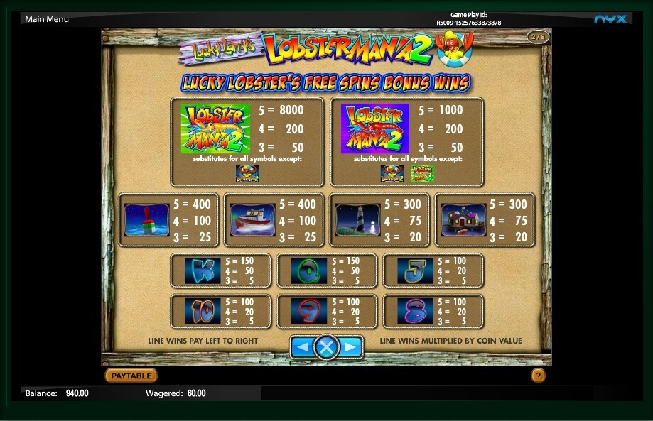 Lucky Larry's Lobstermania 2 Slot Game Symbols and Winning Combinations
