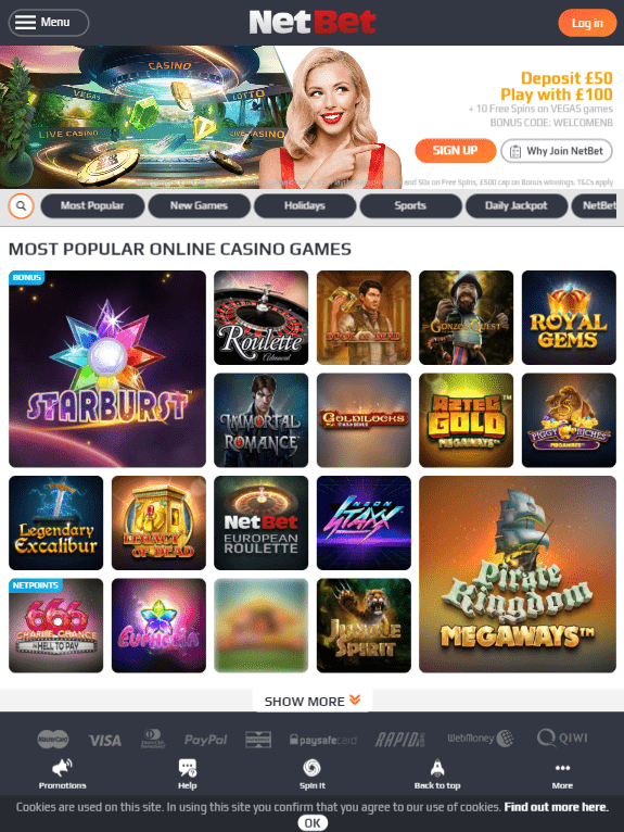 NetBet iOS & Android tablets
