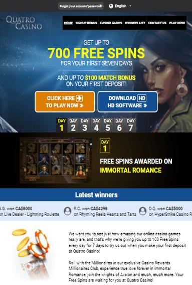 Quatro Casino iOS & Android tablets