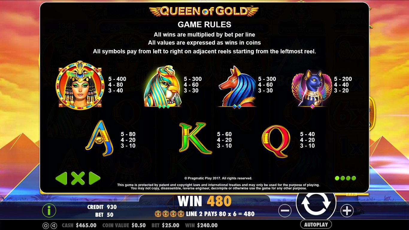 Queen of Gold Slot Game Symbols and Winning Combinations
