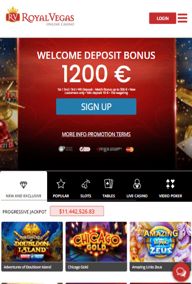 Royal Vegas Casino iOS & Android tablets