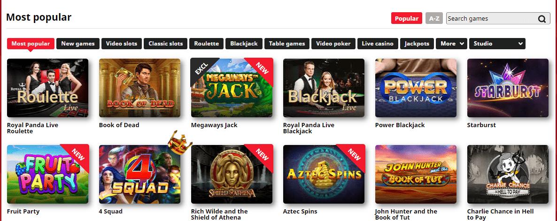 royalpanda casino games