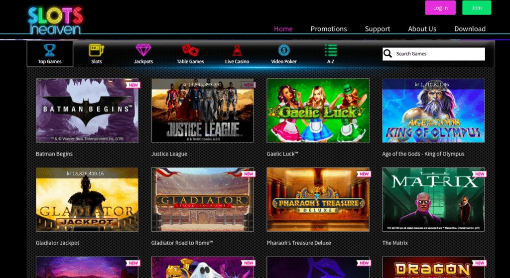 slotsheaven casino games