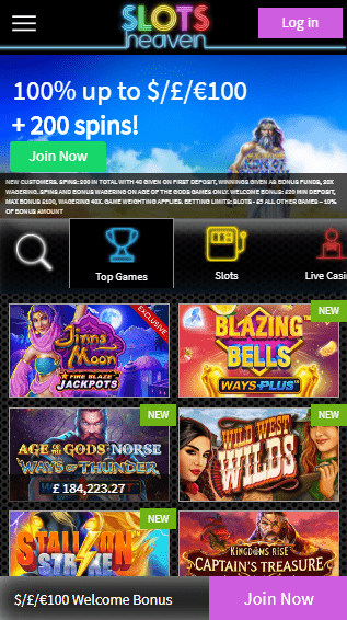 Slots Heaven iOS & Android mobile devices