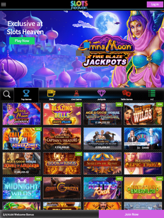 Slots Heaven iOS & Android tablets