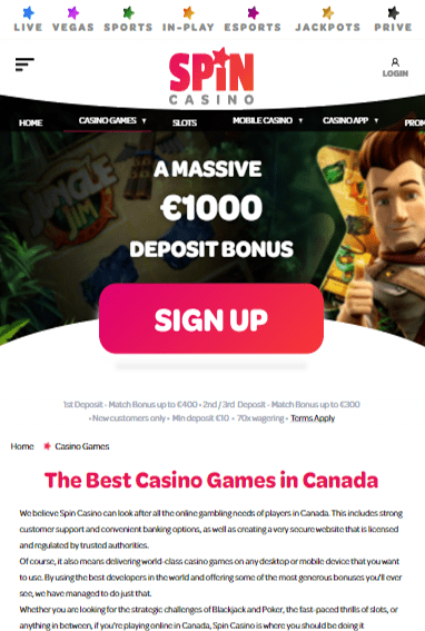 Spin Casino iOS & Android tablets