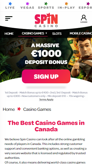 Spin Casino iOS & Android mobile devices
