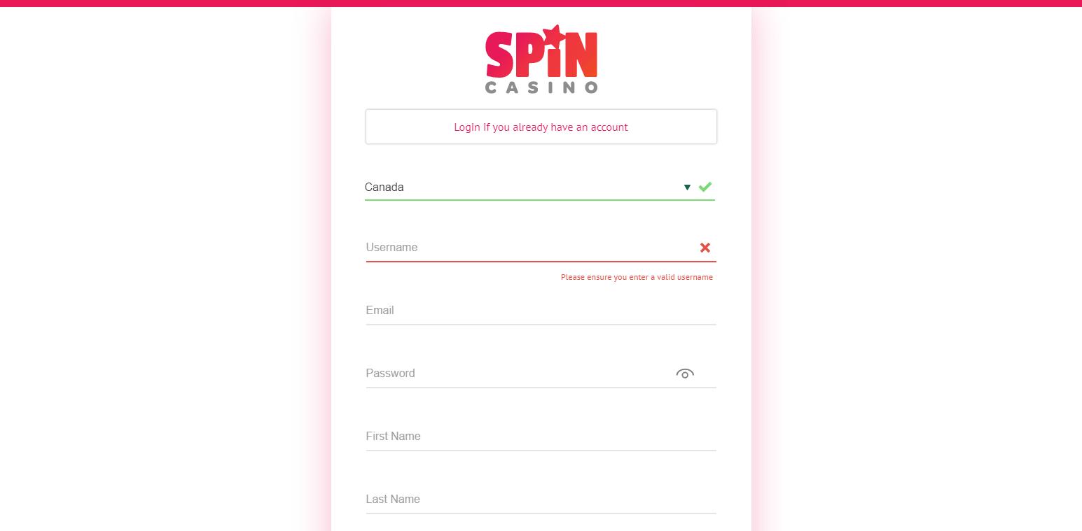 Spin Casino login