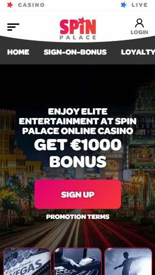 Spin Palace iOS & Android mobile devices