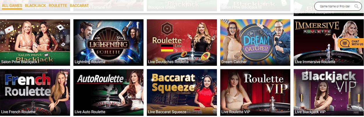 trada casino games