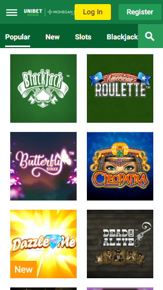 Unibet iOS & Android mobile devices