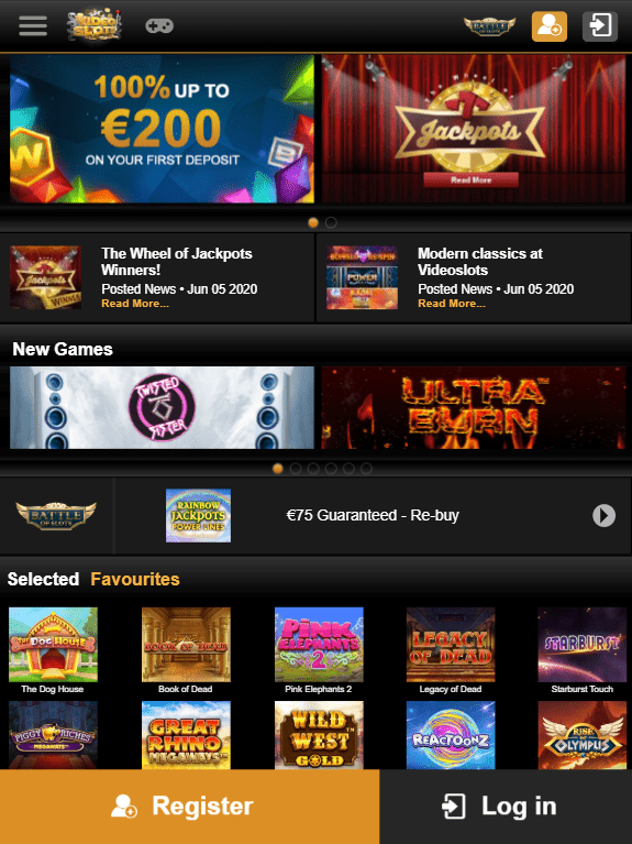 VideoSlots iOS & Android tablets