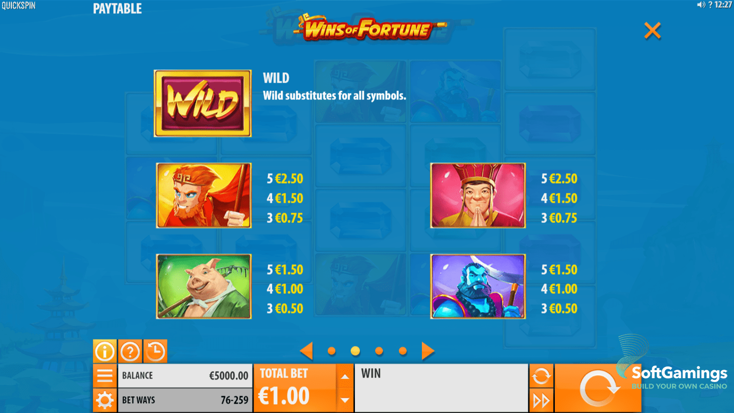Wins of Fortune Slot Game Symbols and Winning Combinations