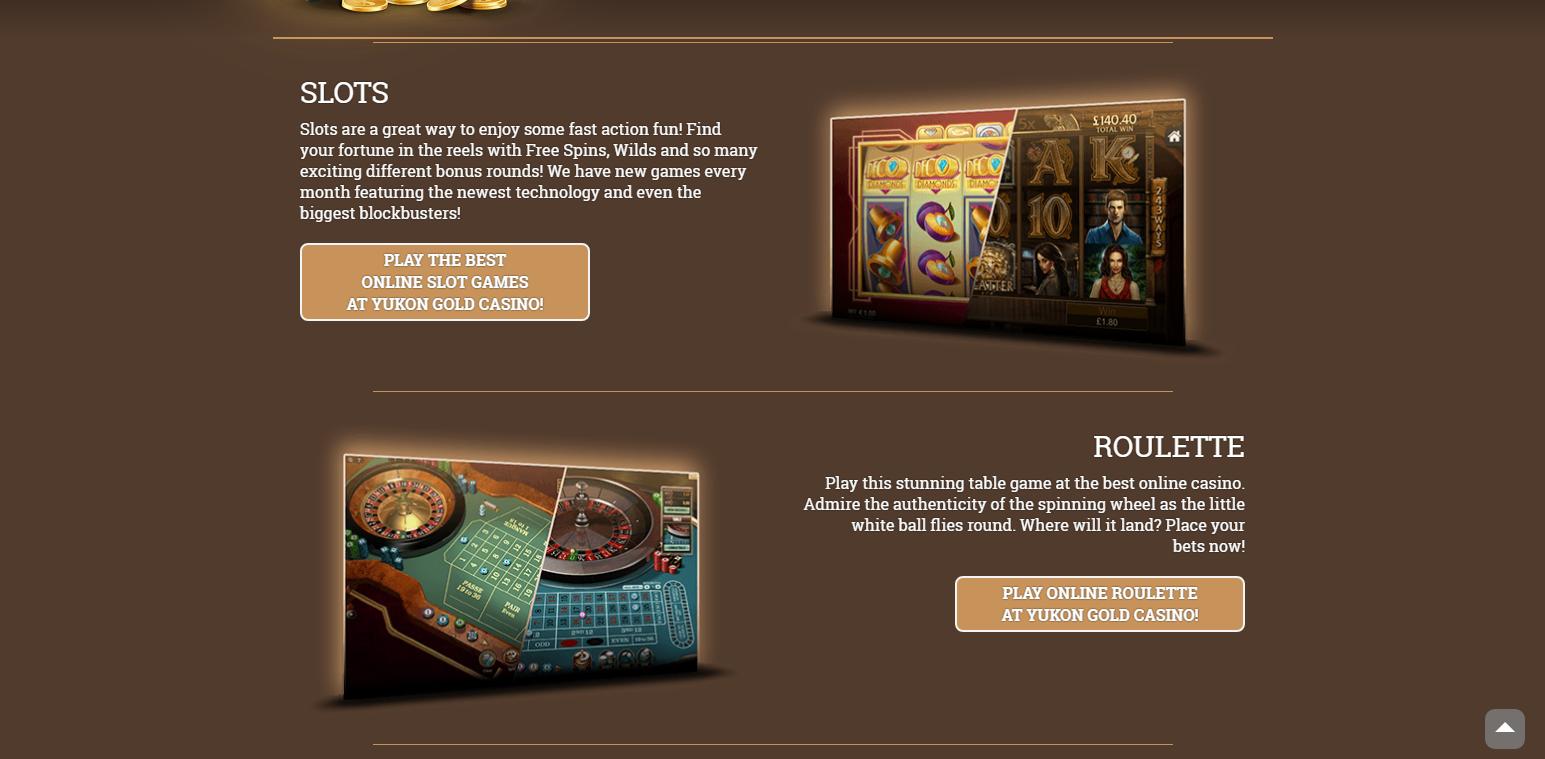 Yukon Gold Casino games