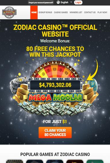 Zodiac Casino iOS & Android tablets