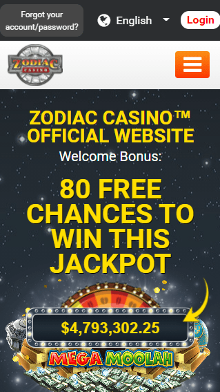 Zodiac Casino iOS & Android mobile devices